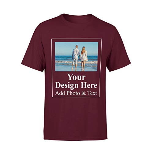 Arokan Customize Shirts for Women Men Custom T Shirts Design Your Own Crew Neck Mens Womens Personalized Tshirts (Maroon - Men, Large)