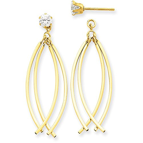 14k Gold Polished Double Curved Oval Dangle Jackets for Stud Earrings (1.61