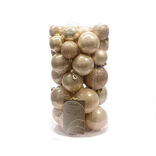 30 Luxury Shatterproof Christmas Baubles Decorations - Pearl Gold - 340592 Kaemingk