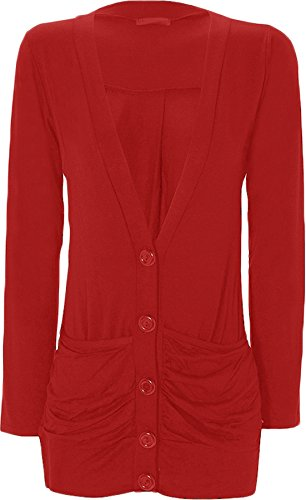 WearAll - Cardigan à manches longues - Hauts - Femmes - Rouge - 36-38