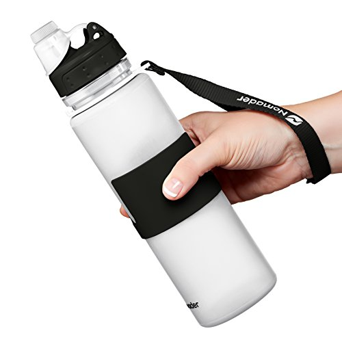 Nomader BPA Free Collapsible Sports Water Bottle - Foldable with Reusable Leak Proof Twist Cap for Gym Travel Hiking Camping and Outdoors - 25 oz (White)