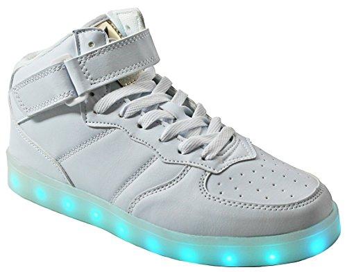 Vrouwen High / Low Top Pu Lederen Led-licht Mode Opvlammende Usb Oplaadbare Sneaker Schoenen White_4001