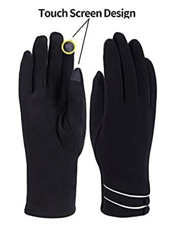 Womens Winter Gloves Touch Screen Thick Warm Windproof