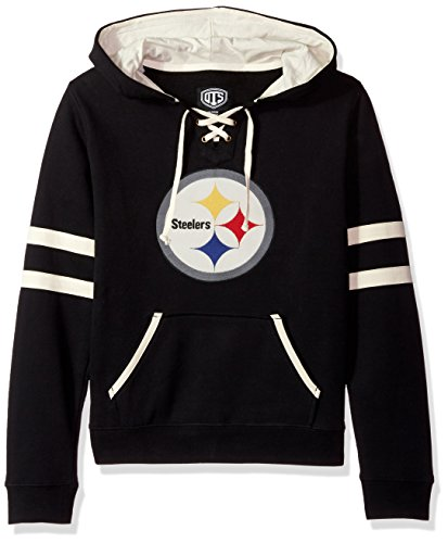 NFL Pittsburgh Steelers Women's OTS Grant Lace Up Pullover Hood, Jet Black, Small