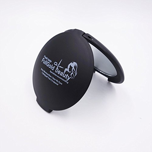 FullGold Mini Pocket Mirror 2 Sided Portable Foldable Pocket Makeup Dual Compact Mirror (black)
