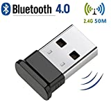 long range bluetooth usb dongle - Bluetooth USB Adapter, USB 4.0 Bluetooth Dongle with 2.4Ghz range for Win 10/ 8.1/ 8, desktop, Vista and XP by KEY IDEA (Black)