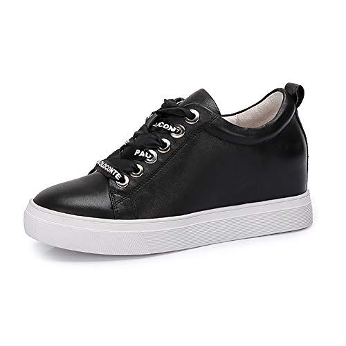 De Aumento De Dentro Otoño Zapatos Pequeños Alto Casual Zapatos Encaje Zapatos Mujer De De Mujer Tacón De Negro Carta Cuero De Blancos TwBBx87q6Z