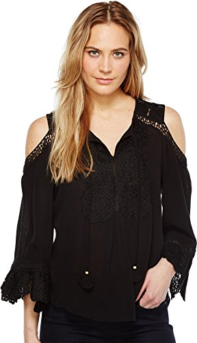 Crinkle Three Quarter Sleeve Shirt (Hale Bob Women's Spring Roll Crinkle Rayon Gauze Cold Shoulder Top Black Shirt)