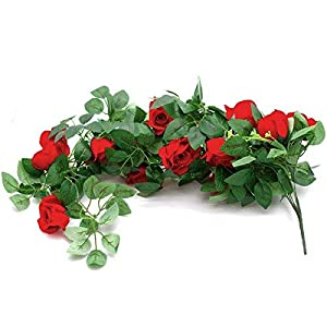 Pack of 2 Artificial Hanging Rose Flower Vine Fake Silk Flower Ivy Plant Leaves Garland for Wedding Wall Decoration (Not Included Flower Basket) 88