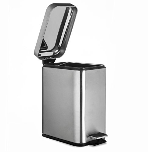 Nickel Trash Can (Rectangular Waste Bin in Brushed Nickel, 5L Garbage Trash Can with Step Foot Pedal, by AMG)