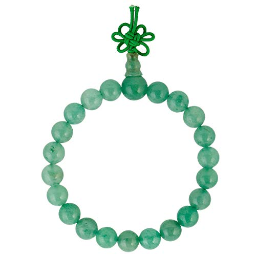 TUMBEELLUWA 8mm Stone Beads Bracelets Prayer Bead Elastic Tibetan Bracelets Bangle Handmade Jewelry for Women Men,Green Aventurine Chakra Bracelet