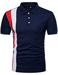 Men's 2018 New Style Casual Slim Patchwork Button Short Sleeve T Shirt Top Blouse