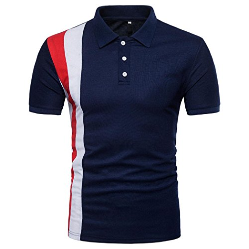 GREFER Men's 2018 New Style Casual Slim Patchwork Button Short Sleeve T Shirt Top Blouse (L, Navy) Blue Branded Polo