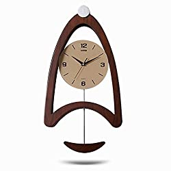 Sunhai Watches And Clocks Wall Clock Living Room Clock Modern European Style Creative Wall Clock Art Pendulum Clock Simple And Stylish Personality Mute The Clock (Color : Oak Color)