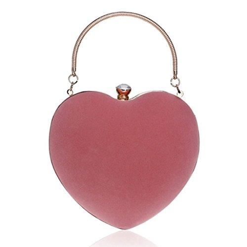 Dabixx Women Heart Clutch Bag Borsa da sera in velluto Borsa a catena catena Prom Wedding Party Light Pink Rosa Chiaro