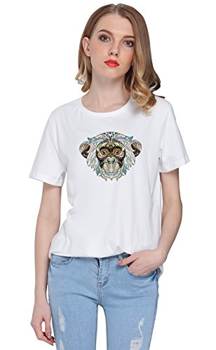 So'each Women's Animal Monkey Graphic Printed Tee T-shirt Tops