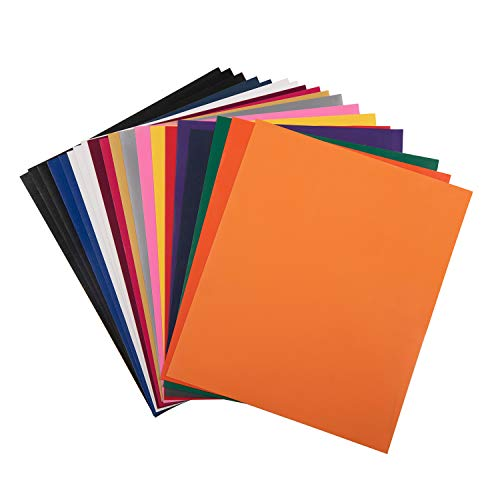 HTV PU Heat Transfer Vinyl 10 x 12 - 20 Sheets 15 Assorted Colors for Cricut Silhouette Cameo or Heat Press Machine, Super Sturdy & Easy to Weed Adhesive Vinyl, Iron-On Transfer, for DIY T-Shirts