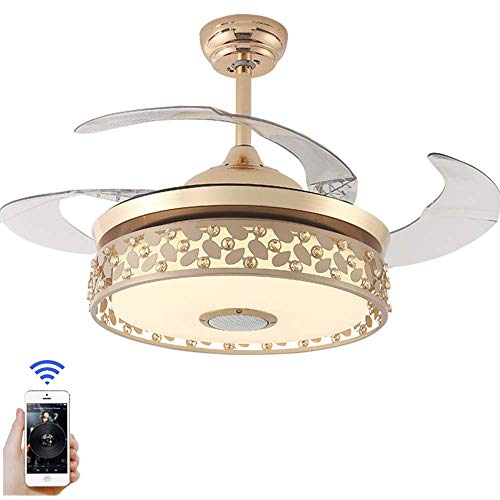 42-Inch Modern Ceiling Fan With Illuminated Smart Bluetooth Music Player Chandelier, 7-Color Stealth Blade with Remote Control, Dimmable Led ()