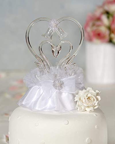 Glass Swan Cake Topper with Heart: Skirt Color: Ivory