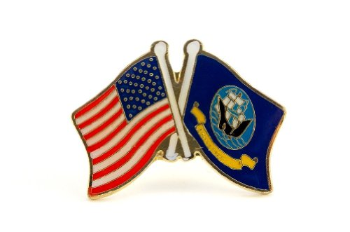 United State Navy USA Flag and Navy Flag Crossing Lapel Hat Pin Military -