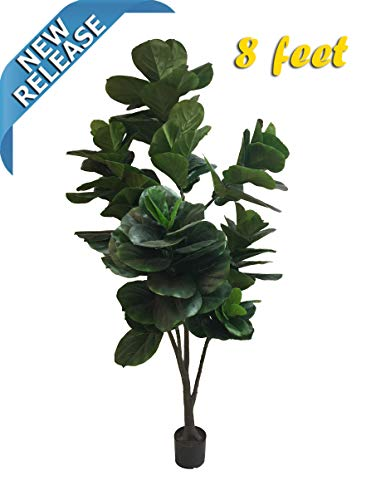 AMERIQUE Massive and Dense Fiddle Leaf Fig Tree Artificial Silk Plant with UV Protection, with Nursery Plastic Pot, Feel Real Technology, Super Quality, 8', Green, 8 - Fig Silk Trees