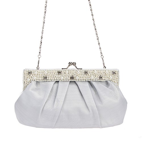 Purses Satin Evening Women Bags Kiss and Clutches silver Lock for Bonjanvye Pearls CaOx88
