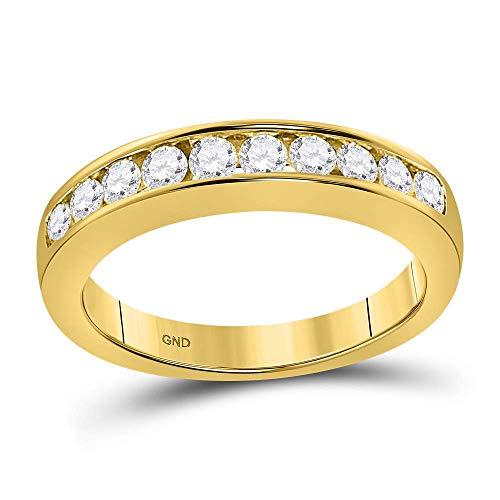 14kt Yellow Gold Womens Round Channel-set Diamond Wedding Band 1/2 Cttw - Size 9 ()