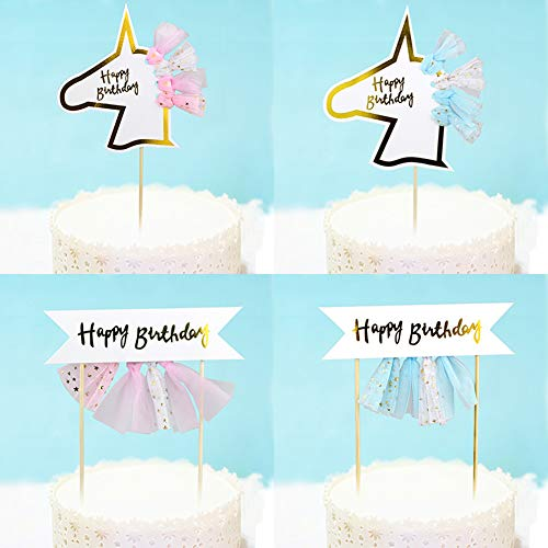 Shaped Tassel (HATABO Tulle Pompon Diamante Cake Topper Cute Tulle Tassel Unicorn Shaped Cake Topper Wedding Decoration Children's Birthday Party Baby Shower Baking Cake Decorating (Random))