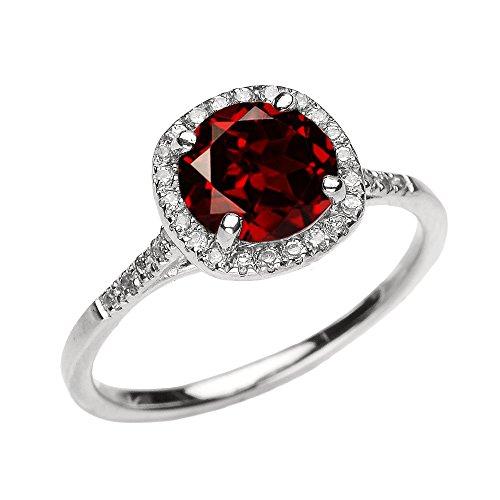 (Dainty 10k White Gold Halo Diamond and Garnet Centerstone Engagement Proposal Ring (Size 7))