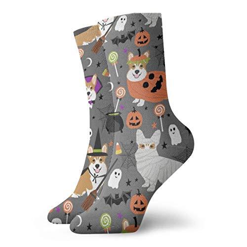 (Corgi Halloween Costumes Mummy Vampire Ghost Just Dog Fabric Grey_824Painting Art Printed Funny Novelty Animal Casual Cotton Crew Socks)