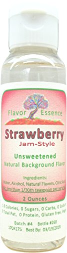 STRAWBERRY(Jam-style) by Flavor Essence (Unsweetened, Natural Background Flavoring) 2 Oz.|For Beverages: coffee/tea, shakes/smoothies, bar drinks.For Foods: baking, doughs, batters, frostings, yogurt