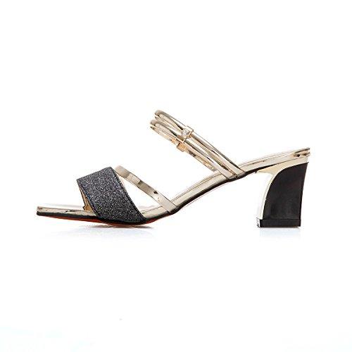 zapato de con un zapatos par un tacón de Sandalias black con w8gIPTwq