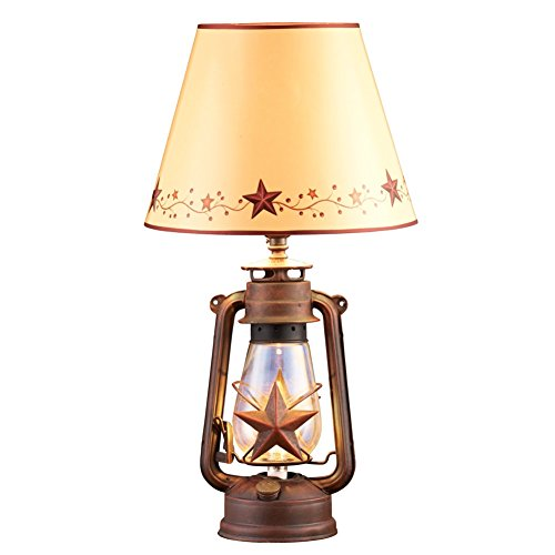 Rustic Country Star Lantern Table Lamp, -