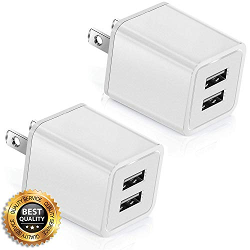 USB Charger, 12W USB Power Adapters 2.4A Fast Dual Port Travel Mobile Phone AC Adapter Portable Block Plug Compatible with Phone XS MAX/XR/X/8/7/Plus/6S/6/SE/5S/5C/Tablet(2 Pack) -
