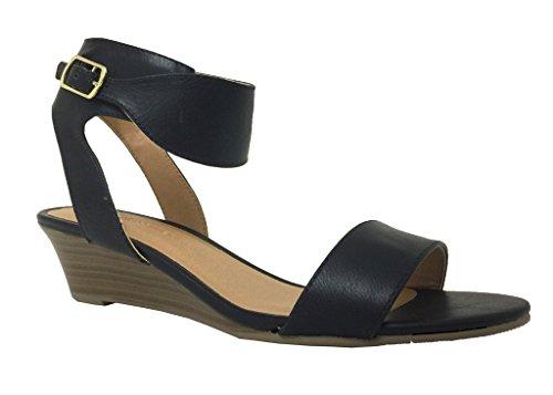 Fine! By City Classified Women's Open Toe Ankle Strap Wedge Sandal, Black Leatherette 8 M US