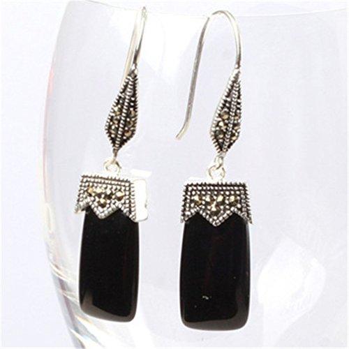 GEM-inside Earrings Black Agate Gemstone Beads Rectangle Natural Tibetan Silver Dangle Stud Hoop Fashion Jewelry for Woman -