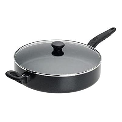 Mirro Get A Grip Aluminum Nonstick 12-Inch Jumbo Cooker Deep Fry Pan / Saute Pan with Glass Lid Cover Cookware