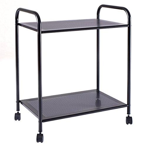 Two Tier Cart - Giantex 2 Tiers Storage Display Rack Mesh Shelf Home Kitchen Bathroom Organizer W/Wheels (2 Tiers)
