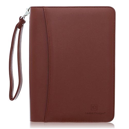 - Small Zippered Business Padfolio with Junior Legal Notepad - Light Brown PU Leather Portfolio Binder & Organizer Folder with 8 Inch Tablet Sleeve by Lautus Designs