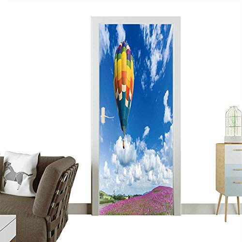Door Sticker Wall Decals Colorful hot air Balloon Over Pink Flower Fields with Blue Sky Background Easy to Peel and Stick W23.6 x H78.7 INCH -