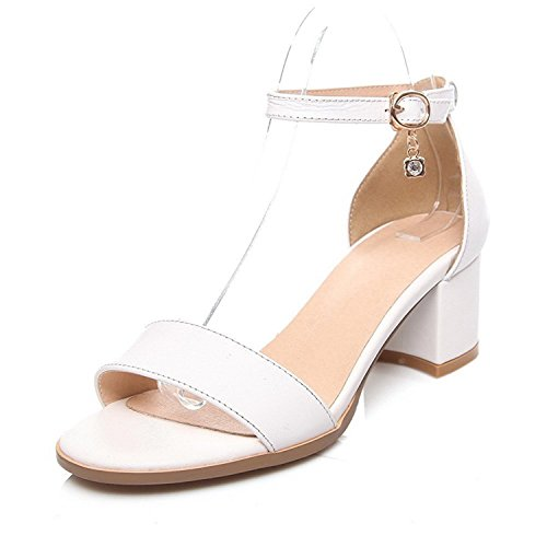 taminte Women's Buckle Open Toe Kitten-Heels Cow Leather ...