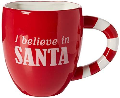 DEI 80877 Ceramic Santa Cookie Pocket Mug, 18 Ounces, Red/White