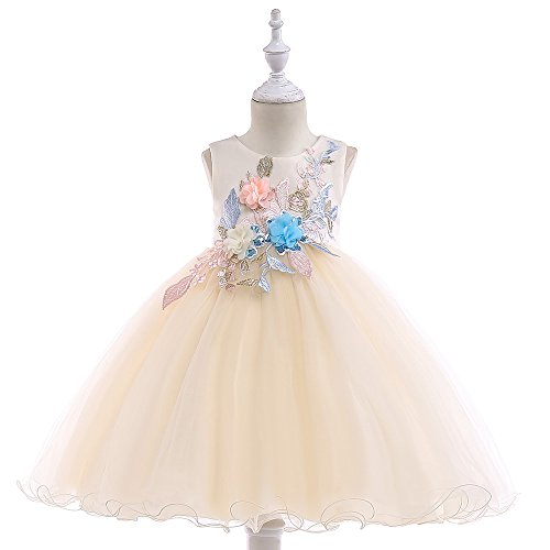 uffle A-Line Rustic Flower Dress Tea Length Party Wedding Pageant Ball Gowns Sundress Bridesmaid Formal Fancy Applique Graduation Dresses Size 7 8 Years (Champagne 140) ()