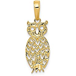 14k Yellow Gold Owl Pendant Charm Necklace Bird Fine Jewelry Gifts For Women For Her
