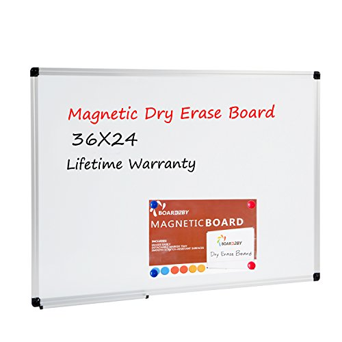 "Board2by Magnetic Dry Erase Board - 36"" x 24"" Aluminum Frame Silver Whiteboard with Detachable Marker Tray and 6 Magnets"