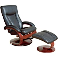 Oslo 54 Series Leather Swivel Recliner and Ottoman Set in Black