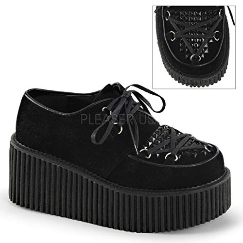Demonia Suede Platforms - Demonia Women's Cre216/bvs Fashion Sneaker, Black Vegan Suede, 8 M US