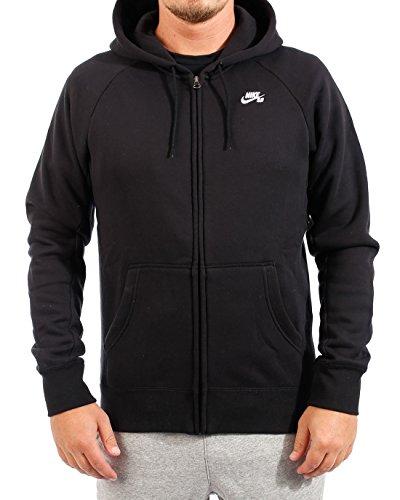 NIKE Mens SB Icon Full Zip Sweatshirt Black/White 800149-010 Size (Icon Crew Sweatshirt)