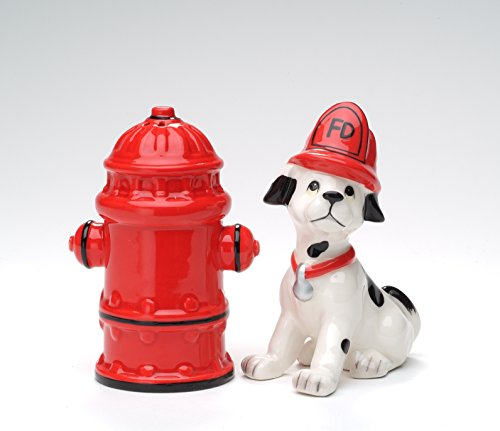 (Cosmos Gifts 50158 Fine Ceramic Red Fire Hydrant and Dalmatian Firefighter Puppy Dog Salt and Pepper Shakers, 4
