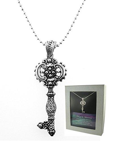 Key To Success Filigree Silver & Crystal Key Pendant Gift Boxed